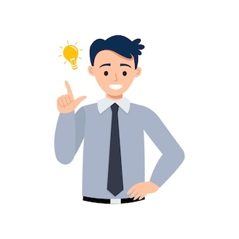 Hombre de negocios joven que muestra el gesto de una buena idea diseño de dibujos animados de vector plano