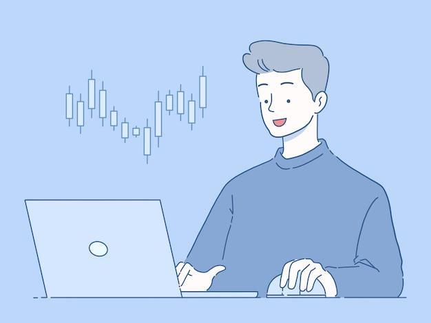 Hombre de negocios joven que negocia en línea en la computadora portátil, concepto en línea de la inversión del mercado de valores, ejemplo dibujado a mano del estilo.
