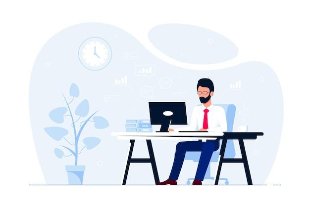 Hombre de negocios joven que trabaja en la computadora en el escritorio en la oficina. ilustración de estilo plano