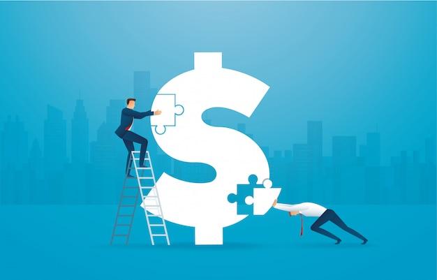 Hombre de negocios juntando el rompecabezas del icono del dólar