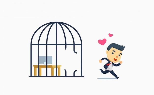 Un hombre de negocios libre de la jaula de pájaros. ilustración vectorial