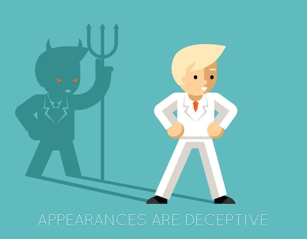 Hombre de negocios ligero y diablo de la sombra. las apariencias engañan. gerente de negocios, demonio y carrera profesional
