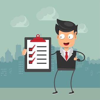 Hombre de negocios con lista de tareas pendientes