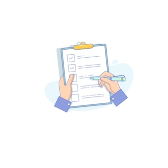 Hombre de negocios con lista de verificación y lápiz
