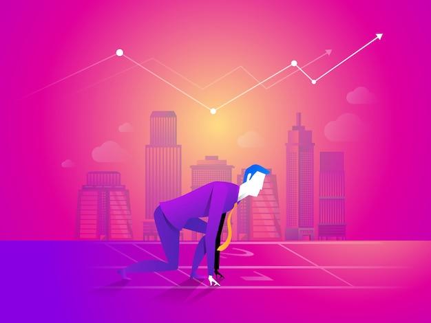 El hombre de negocios está listo para correr en el punto de inicio en el fondo del gráfico de negocios.