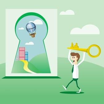 Hombre de negocios con llave de oro para abrir la puerta de la felicidad