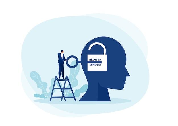 El hombre de negocios lleva una gran clave para desbloquear el concepto de mentalidad de crecimiento de idea.