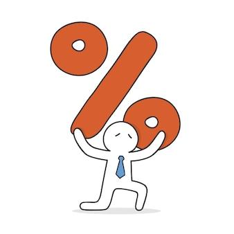 Hombre de negocios llevando un enorme signo de porcentaje