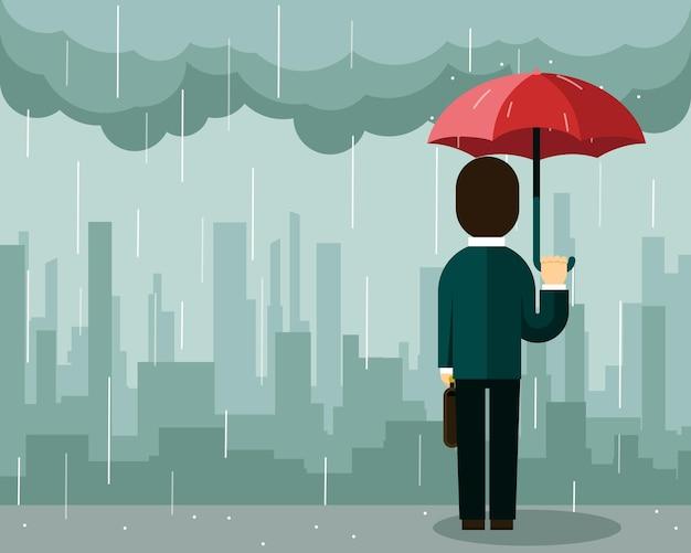 Hombre de negocios, bajo la lluvia, con, paraguas
