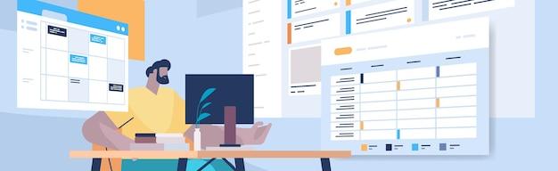 Hombre de negocios en el lugar de trabajo, planificación, día, programación, cita, en, línea, calendario, aplicación, agenda, reunión, plan, gestión del tiempo, concepto, horizontal, retrato, vector