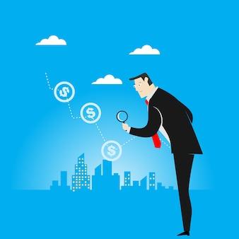 Hombre de negocios con lupa para buscar oportunidades de éxito