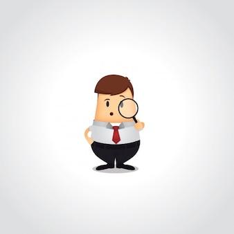 Hombre de negocios con una lupa