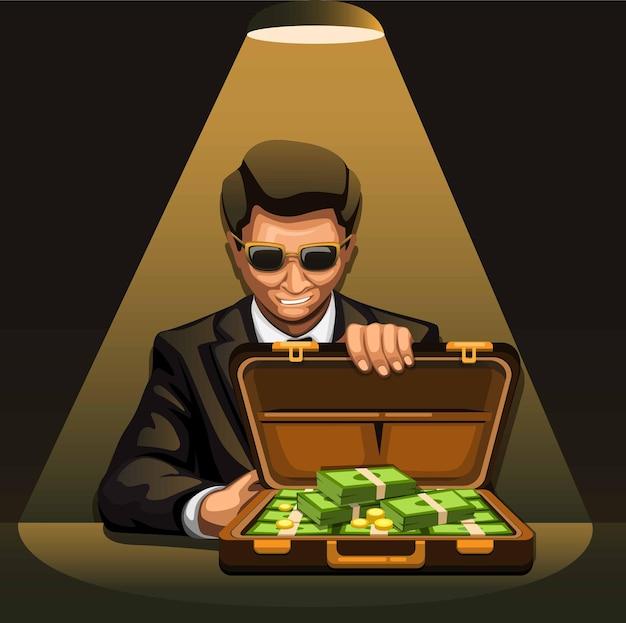 Hombre de negocios con maleta llena de dinero en efectivo. concepto de ilustración de negocio de negociación en dibujos animados