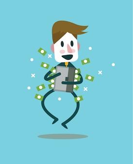 Hombre de negocios con maleta de metal lleno de dinero. concepto de éxito empresarial. elementos de diseño planos. ilustración vectorial