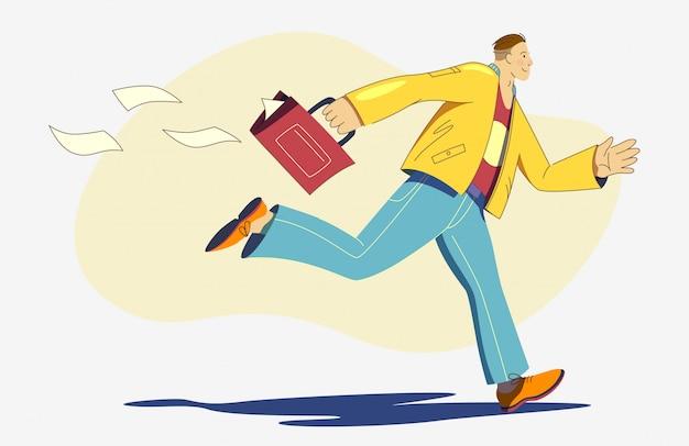 Hombre de negocios con maletín corriendo rápido.