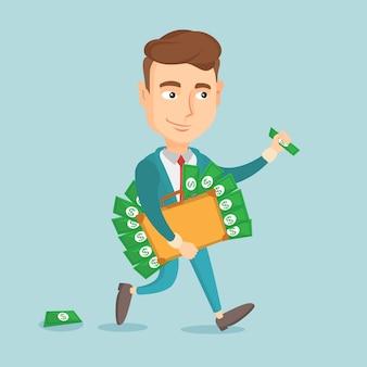 Hombre de negocios con maletín lleno de dinero.