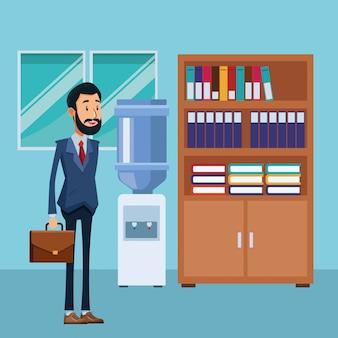 Hombre de negocios, con, maletín