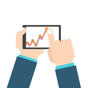 Hombre de negocios de la mano con tableta en gráfico de crecimiento de ganancias.