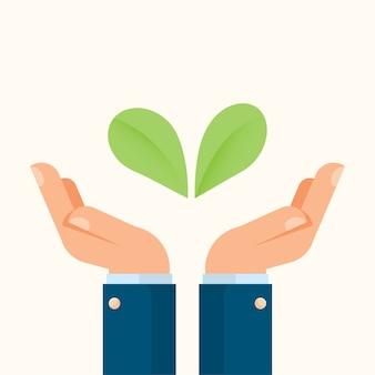 Hombre de negocios, manos, tenencia, plantas