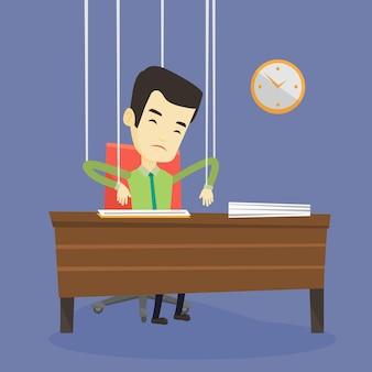 Hombre de negocios marioneta en cuerdas de trabajo.