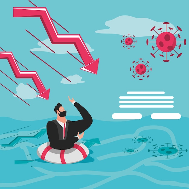Hombre de negocios con máscara en flotador, gráfico de crisis financiera hacia abajo después de la ilustración de covid 19