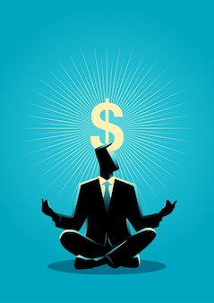 El hombre de negocios medita con el símbolo del dólar de la aclaración