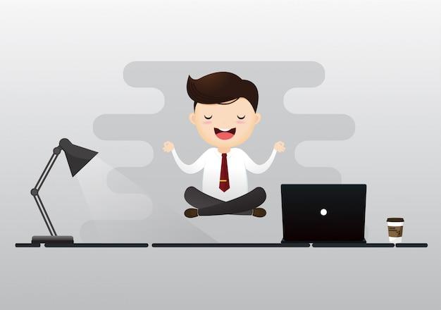 Hombre de negocios, meditación, concepto