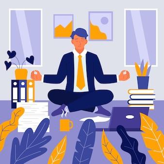 Hombre de negocios, meditar, ilustrado