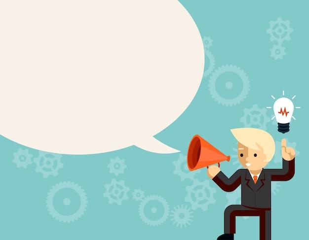 Hombre de negocios con megáfono hablando burbuja de discurso de idea. bombilla e información, líder con megáfono o altavoz.