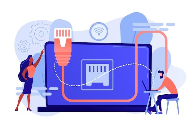 Hombre de negocios en la mesa usando laptop con conexión ethernet. conexión ethernet, tecnología de conexión lan, concepto de sistema de red ethernet