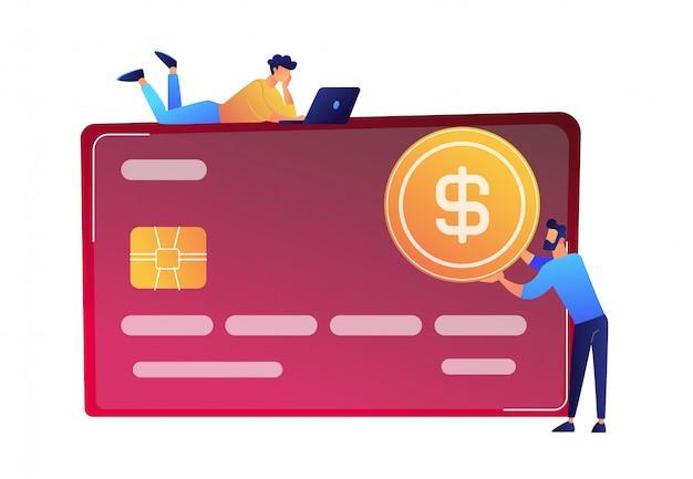 Hombre de negocios con la moneda del dólar y la ilustración enorme del vector de la tarjeta de crédito.