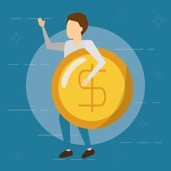 Hombre de negocios con moneda con signo de dinero, estilo plano
