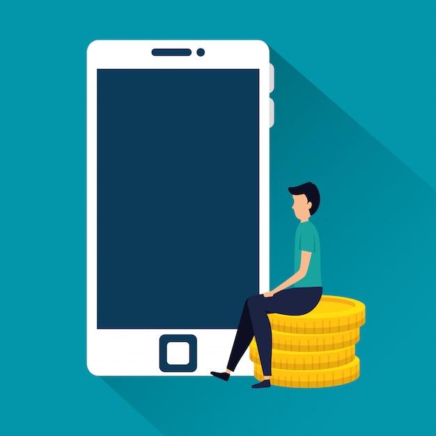 Hombre de negocios con monedas y teléfono inteligente