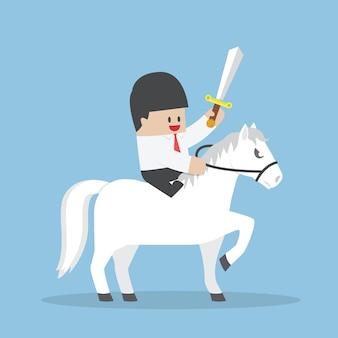 Hombre de negocios montando caballo blanco y sosteniendo la espada