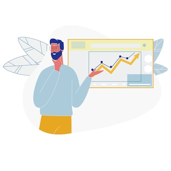 Hombre de negocios mostrar crecientes diagramas de análisis de datos