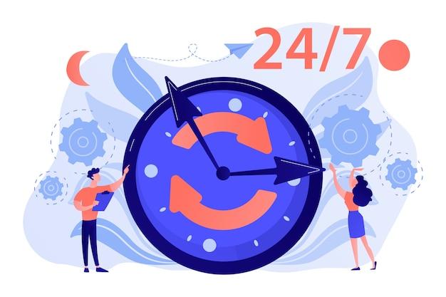 Hombre de negocios y mujer cerca de un enorme reloj con flechas redondas que funcionan las 24 horas del día, los 7 días de la semana, el horario comercial, la ilustración del concepto de horario extendido