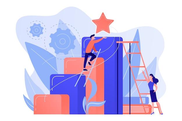 El hombre de negocios y la mujer comienzan a subir la escalera. ambición empresarial y profesional, aspiraciones y planes profesionales, concepto de crecimiento personal sobre fondo blanco.