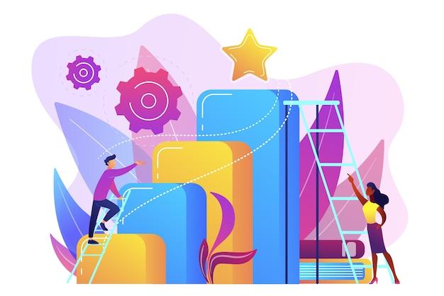 El hombre de negocios y la mujer comienzan a subir la escalera. ambición empresarial y profesional, aspiraciones y planes profesionales, concepto de crecimiento personal