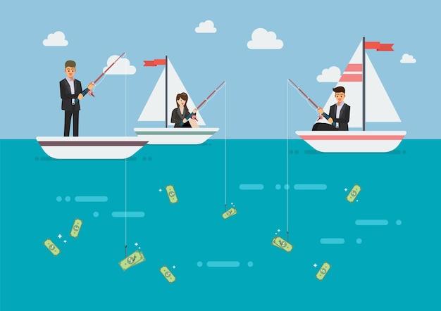 Hombre de negocios y mujer dinero de pesca