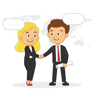 Hombre de negocios y mujer. dos personas se dan la mano, empresario, socios, gerente