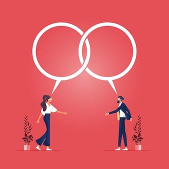 Hombre de negocios y mujer hablan juntos y llegan a un acuerdo con burbujas de discurso de diálogo