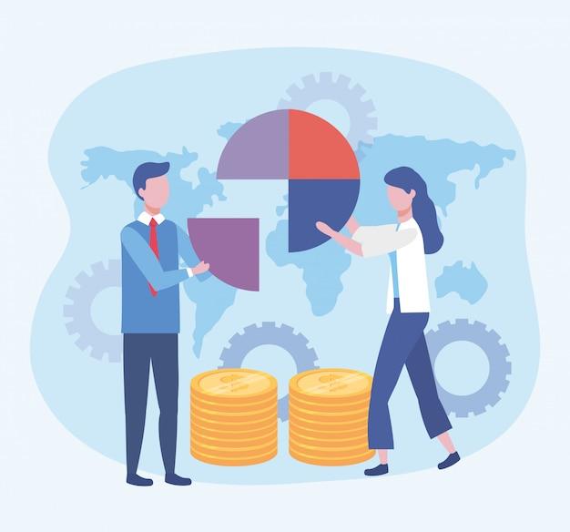 Hombre de negocios y mujer de negocios con diagrama y monedas con engranajes