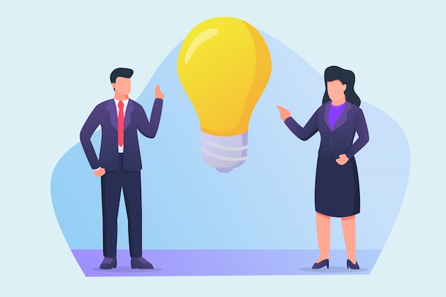 Hombre de negocios y mujer de negocios hablando sobre el nuevo concepto de idea con grandes iconos de bombilla