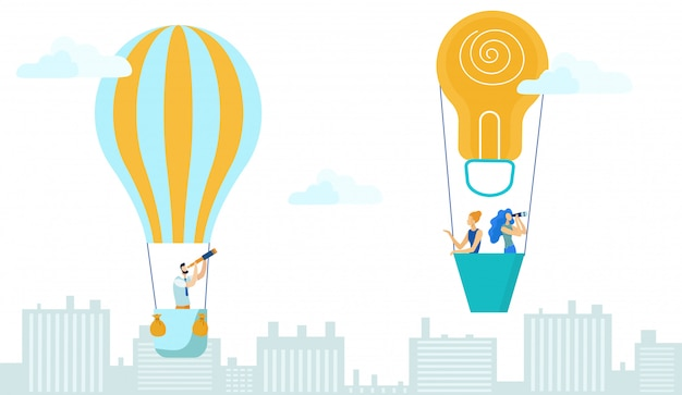 Hombre de negocios y mujeres volando en globo aerostático.