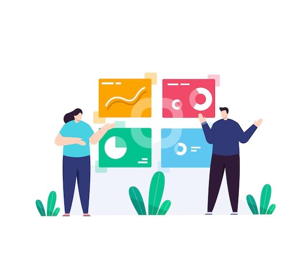 Hombre de negocios y negocios con ilustración plana de mujeres de datos