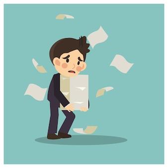 El hombre de negocios no está contento debido a demasiado papeleo para él.