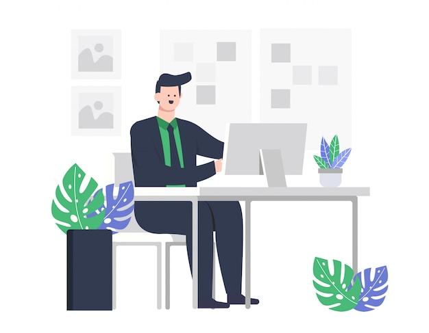 Hombre de negocios o empleado de ilustración trabajando en un escritorio de oficina frente a una computadora.