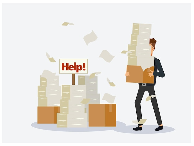 Hombre de negocios ocupado con pila de documentos, pila de papel, en caja de cartón, señal de ayuda.