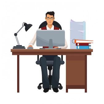 Hombre de negocios, en la oficina