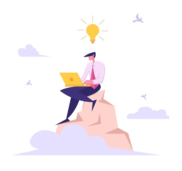 Hombre de negocios con ordenador portátil trabajando en la cima de la ilustración de la montaña